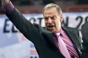 Mayoral candidate Bob Filner addresses supporters at Golden Hall.